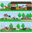 set of horse riding posters banners in vector image vector image