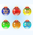 set of six christmas balls vector image vector image