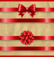 silk red bow set and retro paper background vector image vector image