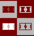 soccer field bordo and white icons and vector image