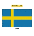 Swedish grunge flag with little scratches on vector image vector image