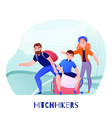 travelers hitchhikers vector image