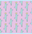 tropical seamless pattern with cactus vector image