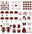 Valentine silhouettes set vector image