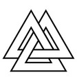 valknut symbol triangle logo viking age symbol vector image