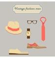 Vintage fashion men elements set vector image