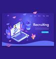 website template design isometric recruiting vector image