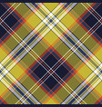yellow blue check tartan pixel seamless pattern vector image vector image