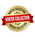 winter collection 3d gold badge with red ribbon vector image