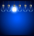 Light bulbs on dark blue background vector image