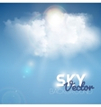 Realistic blue cloud with sun vector image
