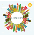 Abstract London Skyline with Color Buildings vector image vector image