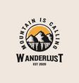 adventure mountain badge logo template vector image vector image