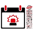 Alert Calendar Day Flat Icon With Bonus vector image vector image