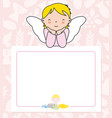 angel girl with wings on top of poster vector image