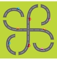 Background with two curling road white marking and vector image