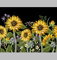 border with sunflowers bouquetartichoke and wild vector image