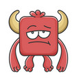 bored red square devil cartoon monster vector image vector image
