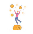 businessman dancing with hands up on coins pile vector image