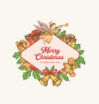 christmas and new year colorful greeting card vector image