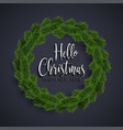 christmas fir-tree wreath on black background vector image