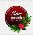 christmas label or sticker with realistic fir vector image vector image
