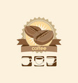 coffee bean and mug premium sign logo vector image