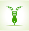 eco pen with green leaf stock vector image