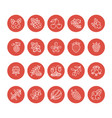 forest berries flat line icons - blueberry vector image vector image