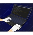 Hacker writing programming code on laptop vector image