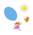 hand-drawn sun bird and little girl with balloon vector image vector image