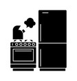 kitchen refrigerator stove kettle icon vector image