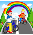 little boy driving bicycle vector image vector image