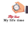 male hand holding stopwatch background imag vector image vector image