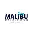 malibu surfing emblem or logo vector image vector image