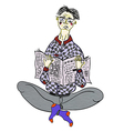 Man with newspaper vector image vector image
