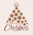 Merry christmas gingerbread tree lettering text