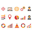 orange red color business infographic icons set vector image