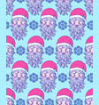 pattern with hand drawn head of santa vector image vector image