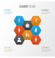 people icons set collection of family jogging vector image vector image