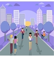 People with Smartphone on Street vector image vector image