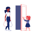 polite courteous child open a door for woman flat vector image