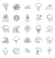 rainy weather icons set outline style vector image vector image