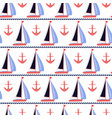 sail boats and coral anchors nautical print vector image