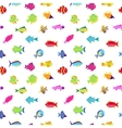 Seamless pattern with cute cartoon fish vector image vector image