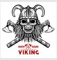 skull viking crossed axe vector image