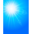 sun in sky cold blue background vector image