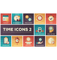 time icons - modern set of flat design vector image