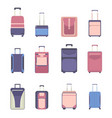 travel bag luggage icon set suitcases isolated vector image