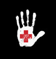 white human handprint with red cross movement flag vector image